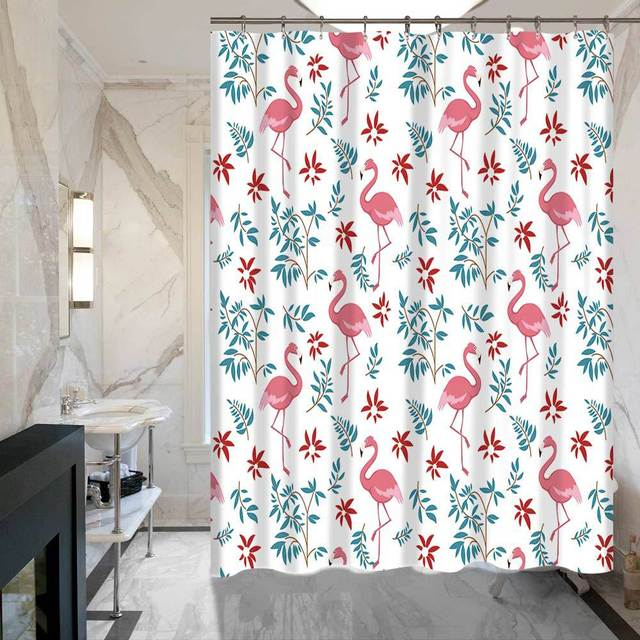SunnyRain 1 Piece Decorative Flamingo Bath Curtains Water Resistant Shower Curtain Polyester Bathroom 150x150 150x180cm