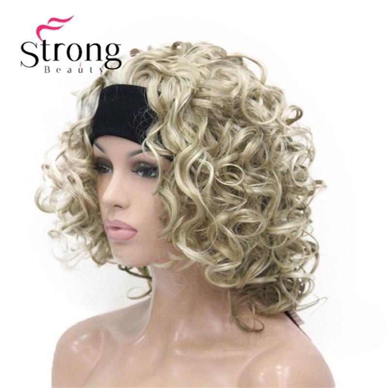 Image 4 - Светлые волосы, короткие 3/4 Женские синтетические волосы, завитые волосы с повязкой на голову, выбор цветаhair pieceshair curlyhair hair  АлиЭкспресс