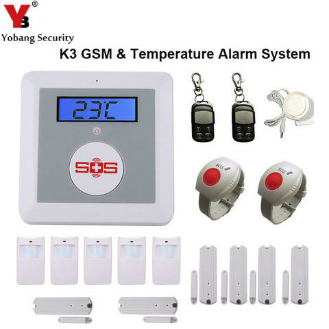 YobangSecurity Wireless Home Security Alarm System GSM SMS Senior Telecare SOS Wireless PIR Door Smoke Detector For Elder Care yobang security wifi gsm wireless pir home security sms alarm system glass break sensor smoke detector for home protection