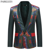 Mens African Clothes Blazer Jacket 2018 African Dashiki Single Breasted One Button Suit Blazer Men Festival African Wedding XXXL