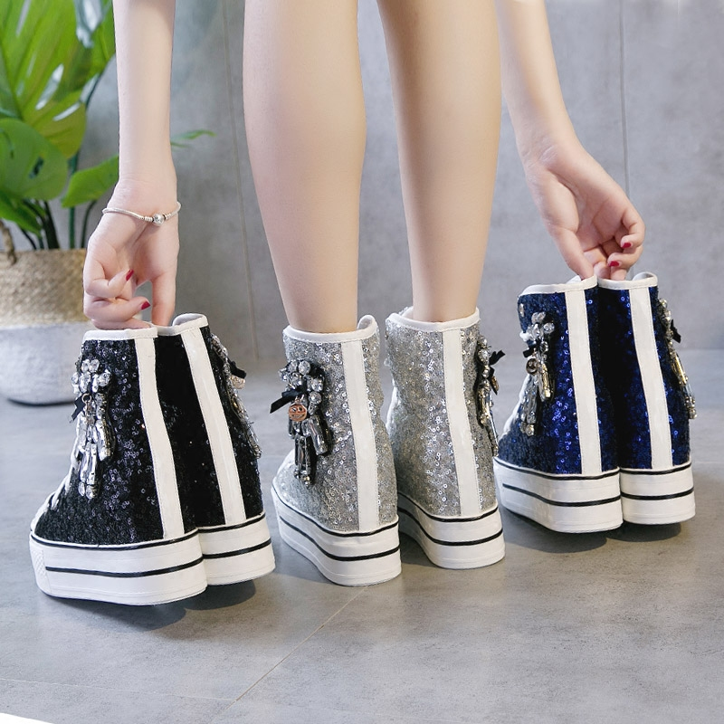 YD-EVER women Casual Shoes platform wedge shoes height increasing super high heel bling diamond crystal sneakers fashion boots 2
