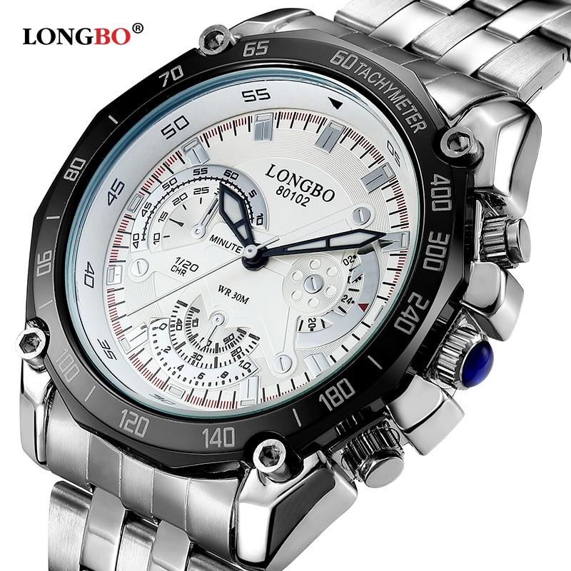 LONGBO Brand Big Dial Men Watch Men's Stainless Business Quartz Wristwatch Waterproof Sports Men Relogio Masculine Clock Hours