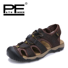 Pathfinder 2018 Men Genuine Leather sandals Shoes Summer Breathable Slippers Outdoor Walking Casual Beach Shoes Big Size 39-47 все цены
