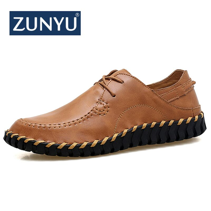 ZUNYU 2018 New Comfortable Big size 38-47 Casual Shoes Loafers Men Shoes  Genuine Leather Shoes Mens Flats Moccasins Shoes