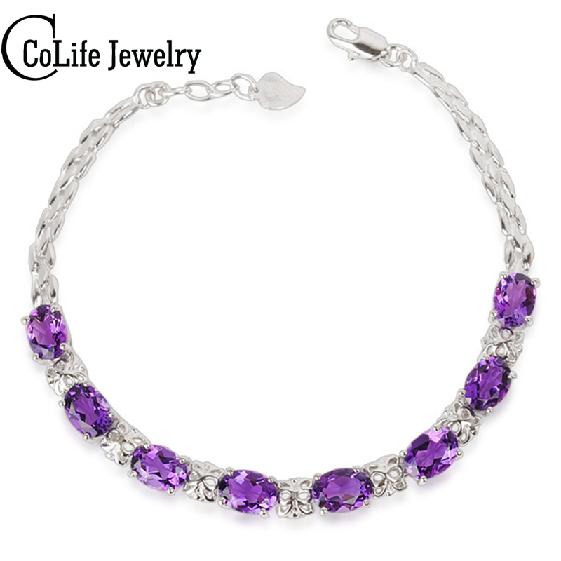 Fashion 925 Solid Sterling Silver bracelet for woman 100% natural amethyst bracelet free shipping silver jewelry girlfriend gift