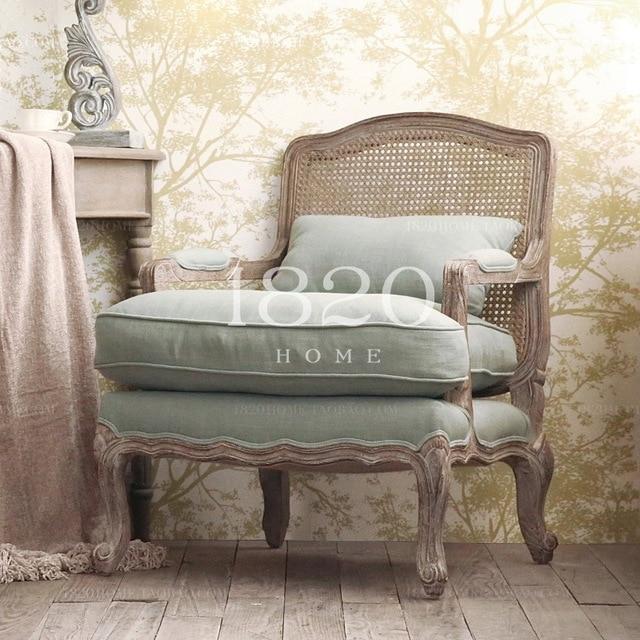 1820 French Country Rattan Surface Burlap Bag Soft Wood Armchair Chair  Salon Chair Gwen Nice Oak