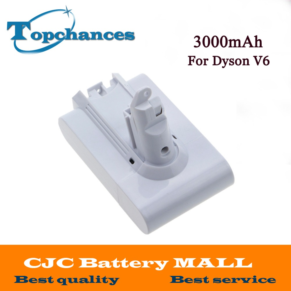 High Quality 21.6V 3000mAh Li-ion Replacement Battery For Dyson V6 DC58 DC59 DC61 DC62 Vacuum Cleaner (White Color) for dyson dys 21 6v 3000mah 3 0ah v6 li ion electrical tools lithium battery dc59 dc62 dc72 965874 02 dc74