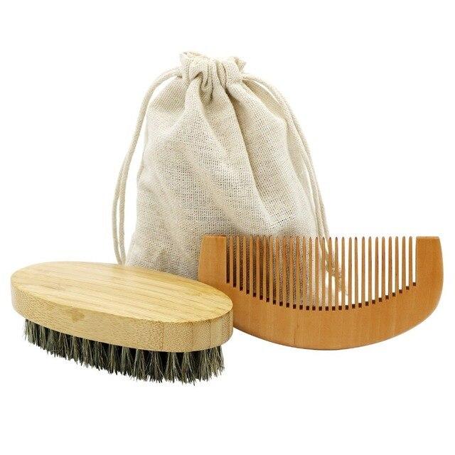 2 ピース/セット男性ボード毛木材ひげブラシ櫛ひげあごひげシェービングクリーニングキット