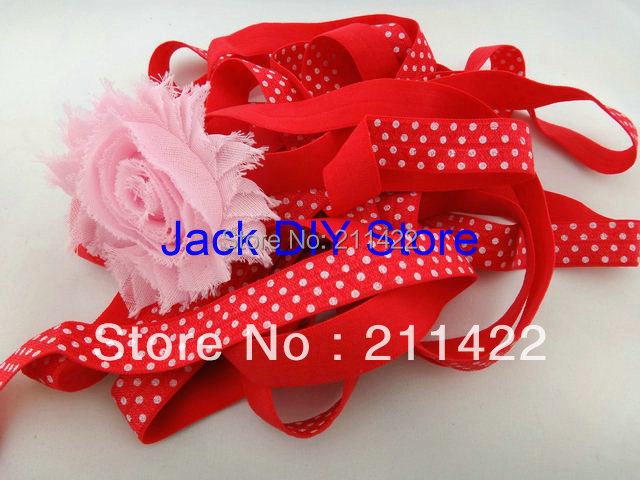 10 Yards FOE Red with White Dot Fold Over  Elastic for Baby Headbands, 5/8 Elastic By The Yard Hair Accessorries