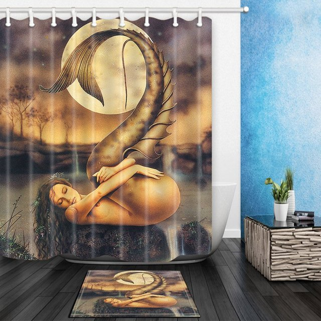 Naked Mermaid In Moonlight Waterproof Polyester Fabric Shower Curtain Set Non Slip Floor Mat Bath Rugs
