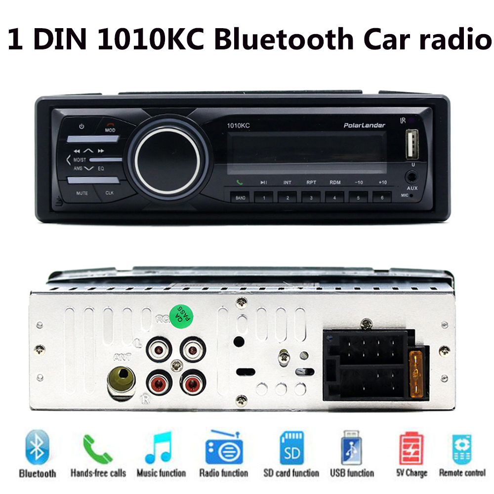 1 DIN съемная Панель AUX в машине радио стерео аудио плеер MP3 плеер 1010KC в тире FM USB TF карты SD Bluetooth