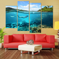 4 Piece Canvas Art Canvas Painting Tropical Diving HD Printed Wall Art Home Decor Poster Wall Pictures for Living Room XA231D