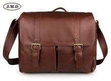 J.M.D Men's Fashion Genuine Cow Leather Brown Color Business Briefcases Laptop Handbag Shoulder Bag Camera Bag 7269B-2