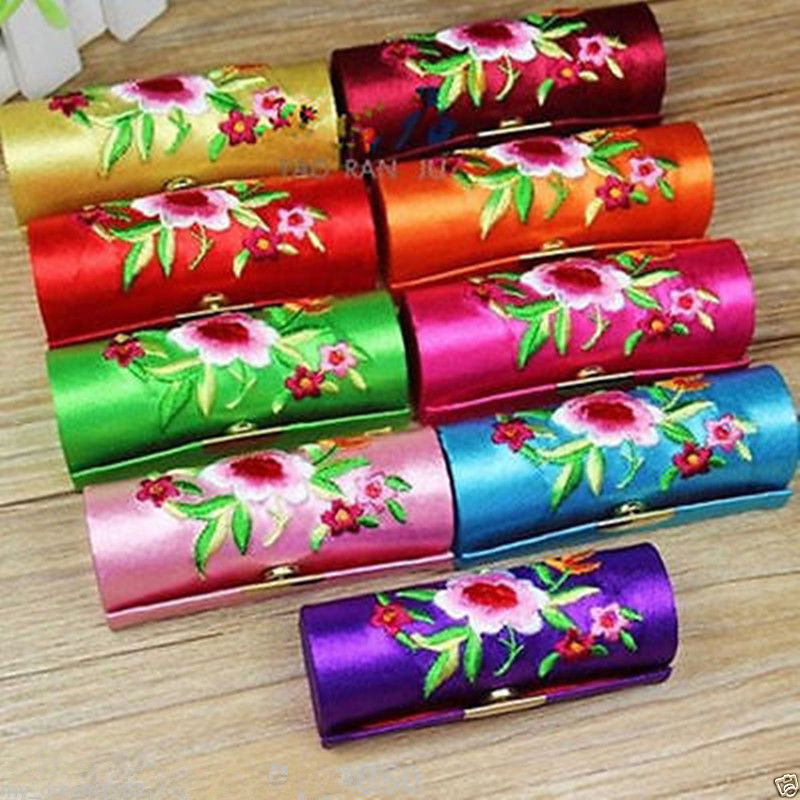 Home & Garden Nice 120pcs Embroidered Single Lipstick Box Satin Jewelry Storage Box Brocade Lipstick Case Makeup Organizers