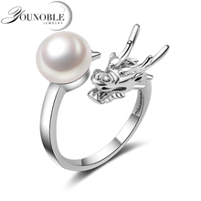 Vintage Dragon ring for women,femme bohemia 925 sterling silver adjustable dragon natural pearl jewelry in box white black