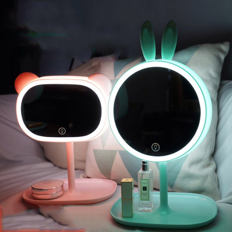 Cartoon Creative Cute Led Makeup Mirror Desk Lamp With
