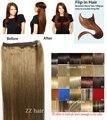 """16 """"-32"""" 100% Cabelo Remy Brasileiro Flip Em/no Cabelo Humano Extensões de cabelo de Halo #10 ash brown 80g-220g 1 pcs Set"""