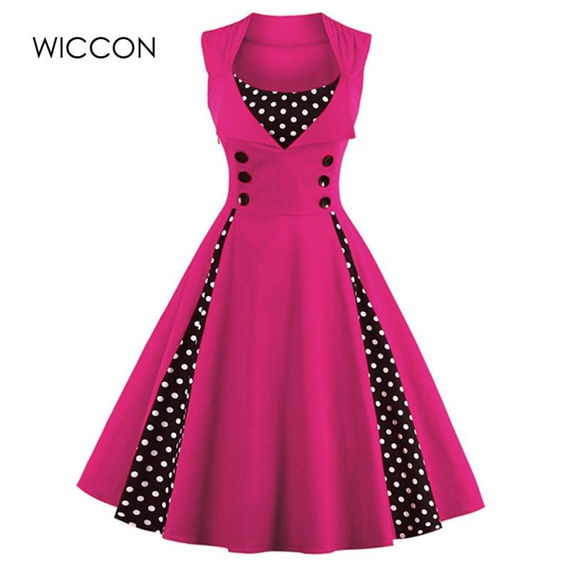 WICCON Vintage Sweet Women Dress Ärmlös Polka Dot 2018Summer Party - Damkläder - Foto 2