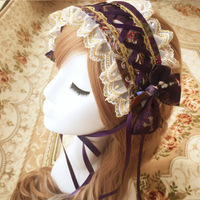 Pyjtrl encantadora púrpura amarillento rojo imprimir Lolita Encaje chalaza bowknot diadema Accesorios de pelo