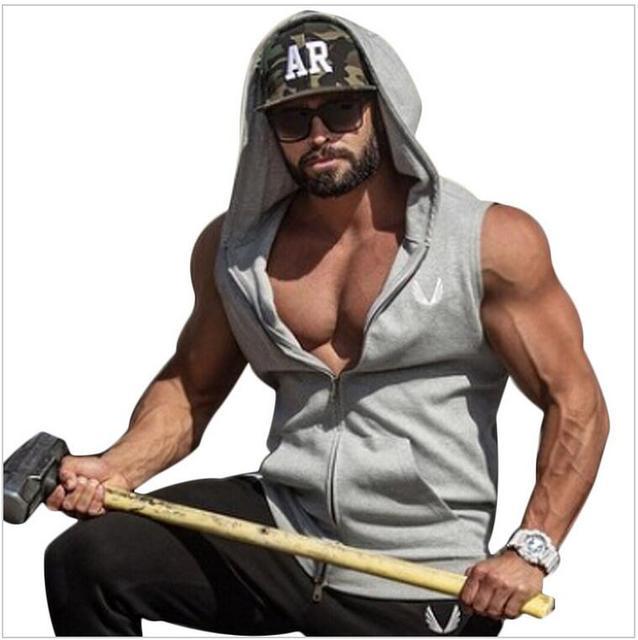 d5212f76 Gymshark Mens Hooded sleeveless undershirt cotton casual vest sleeveless  tank top mens Workout fitness hoodies sweatshirts