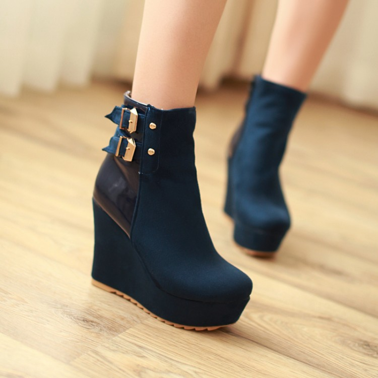 Boots Flock new Woman's shoes high heel 11CM Platform 3CM small yards Autumn Winter EUR Size 34-39