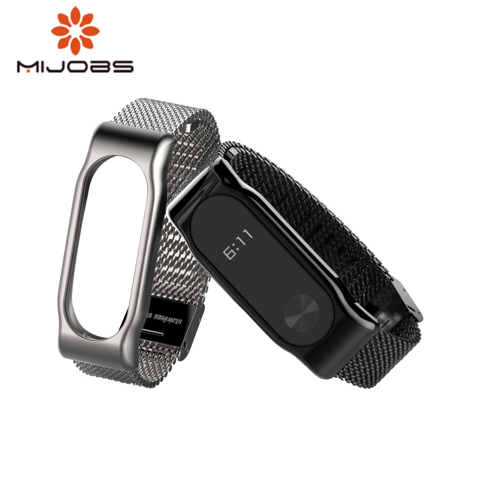 Mijobs Mi Band 2 Strap Bracelet wrist strap Mi band2 Smart Band Strap MiBand 2 Wristband black Magnet Metal for xiaomi Mi Band 2 цена