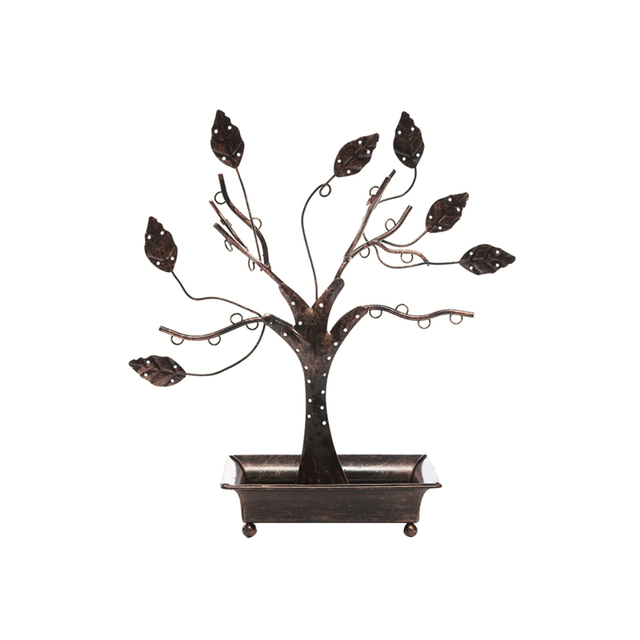 Metal Tree Design Jewelry Display Hangers Necklace Earring Holder Stand With Ring Dish Tray