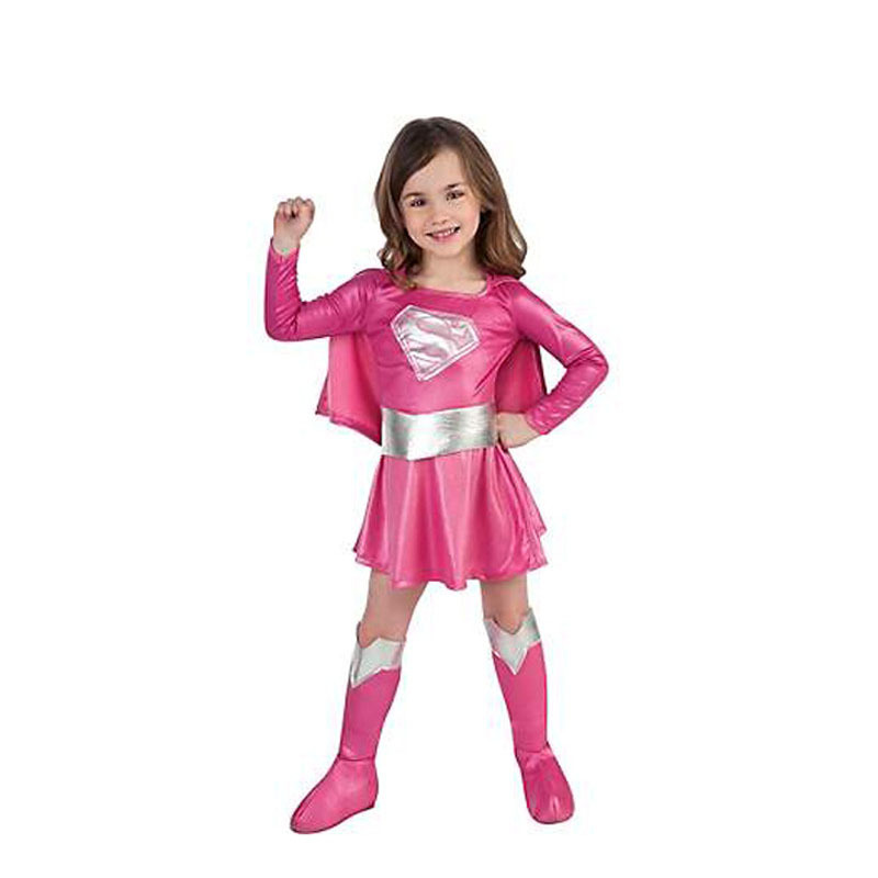 Free shipping Children hot pink superman girl dress,halloween cosplay party super hero costume with cape,boots,belt