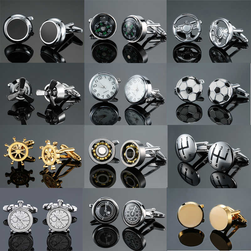 DY New fashion luxury car gear bearing round table thermometer Cufflinks Men's French shirt Cufflinks