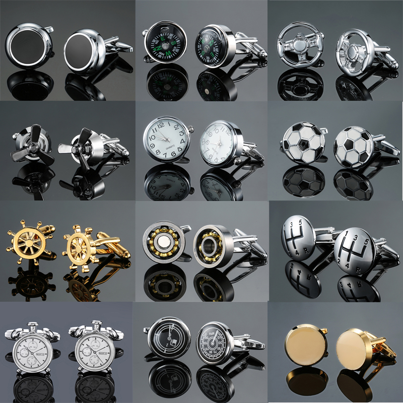 DY New fashion luxury car gear bearing round table thermometer Cufflinks