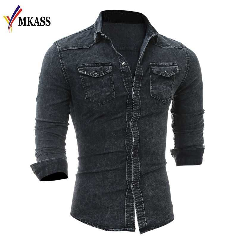 7afee5f528d ... 2019 Hot New Fashion Men Shirt Brand Male Long Sleeve Shirts Casual Solid  Color Denim Slim ...