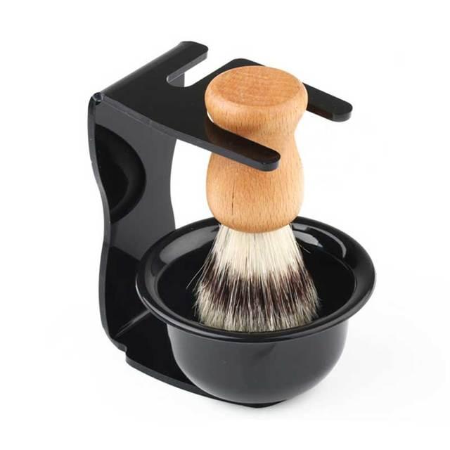 Newest 3 in 1 Men's Shaving Tool Kit Black Resin Handle Badger Bristle Hair Brush + Acrylic Shaving Stand + Shaving Bowl Mug