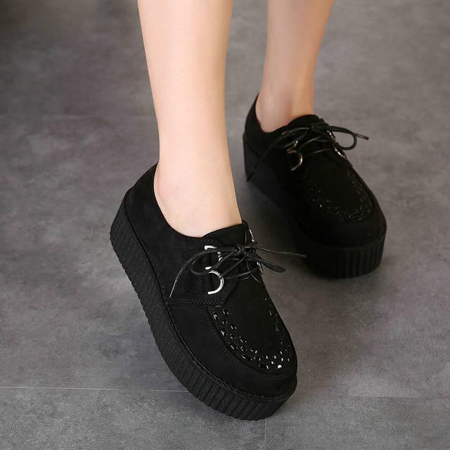 Big Size 40 Spring Autumn Flat Shoes Vintage Women Creepers Platform Shoes  Woman Flatform Black Suede 2258bffcc382
