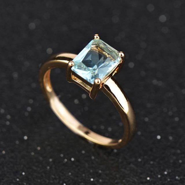 Wholesale & Retail! oro Colore di Cristallo Blu CZ Gioielli di Moda Anello di No