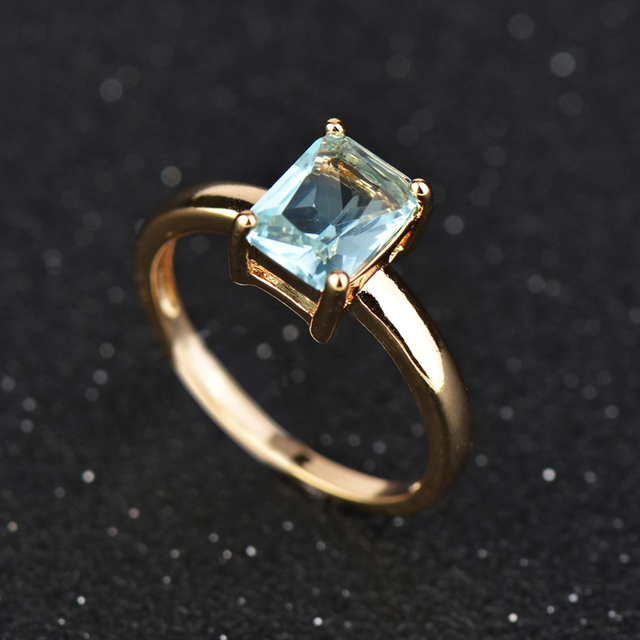 Wholesale & Retail ! Gold Colour Blue Crystal CZ Fashion Jewelry Wedding Ring J0