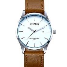 Luxury Brand Men Watches Fashion Military Sport Leather Strap Quartz Watch derss Male Clock CAGARNY