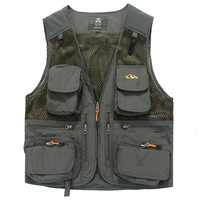 Summer Vest Men Military Thin Mesh Breathable Waistcoat Back Removable Vest With Many Pockets Fishing Men Vest Plus Size M 5XL