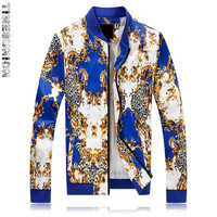 Spring Autumn style Unique gold Floral printed jackets coats men blue casual slim flower printed jackets men plus size M 4XL