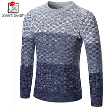 2018 Fashion Brand Clothing Men Gradient Color Sweater Simple O-Neck Slim Fit Casual Pullover Men Sweaters Knitting Mens