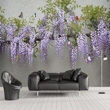 3D Wisteria Flower Butterfly TV Sofa Wall Professional Making Mural Custom Photo Wallpaper