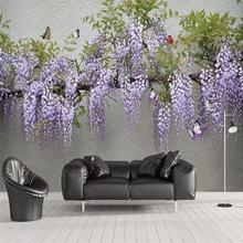 Настенные 3d обои на заказ цветы Глициния Бабочка ТВ диван фоновая