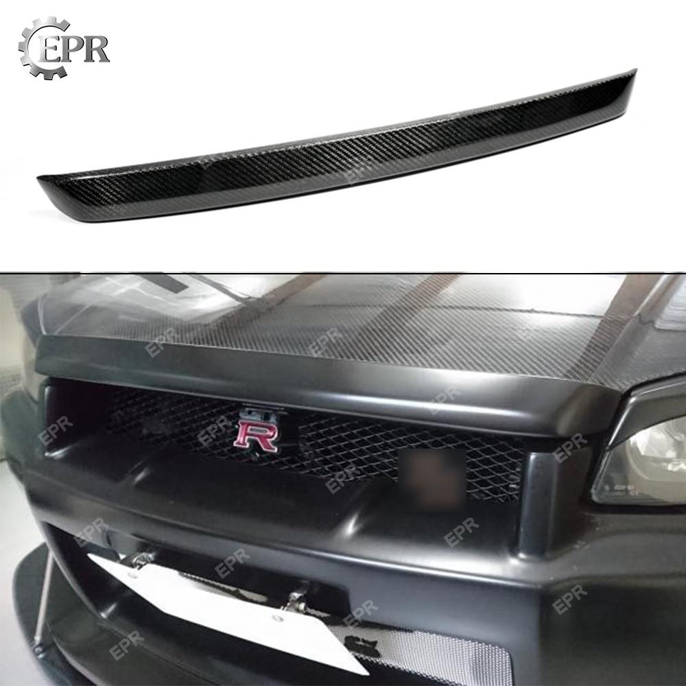 Pour Nissan horizon R34 GTR fibre de carbone capot avant capot lèvre corps Kit Tuning partie pour GTR R34 GTT Type RR carbone capot lèvre