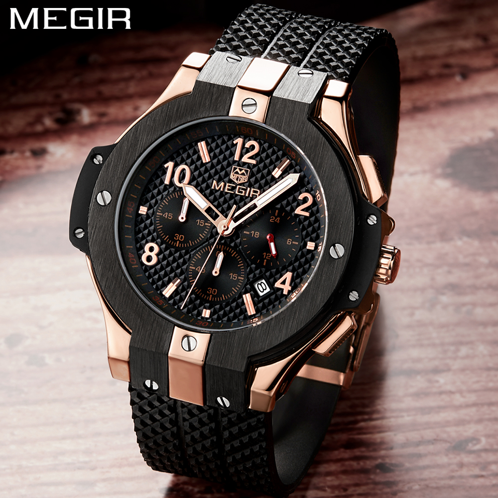 Top Brand MEGIR Chronograph Sport Watch Men Luxury Relogio Masculino Silicone Quartz Army Military Wrist Watch Gold Clock Men