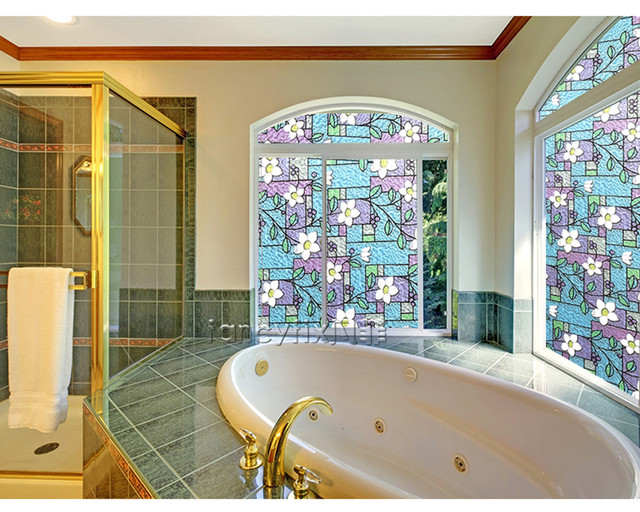 Flower Privacy Textured Stained Glass Window Film Home Decorative Static Cling Sticker