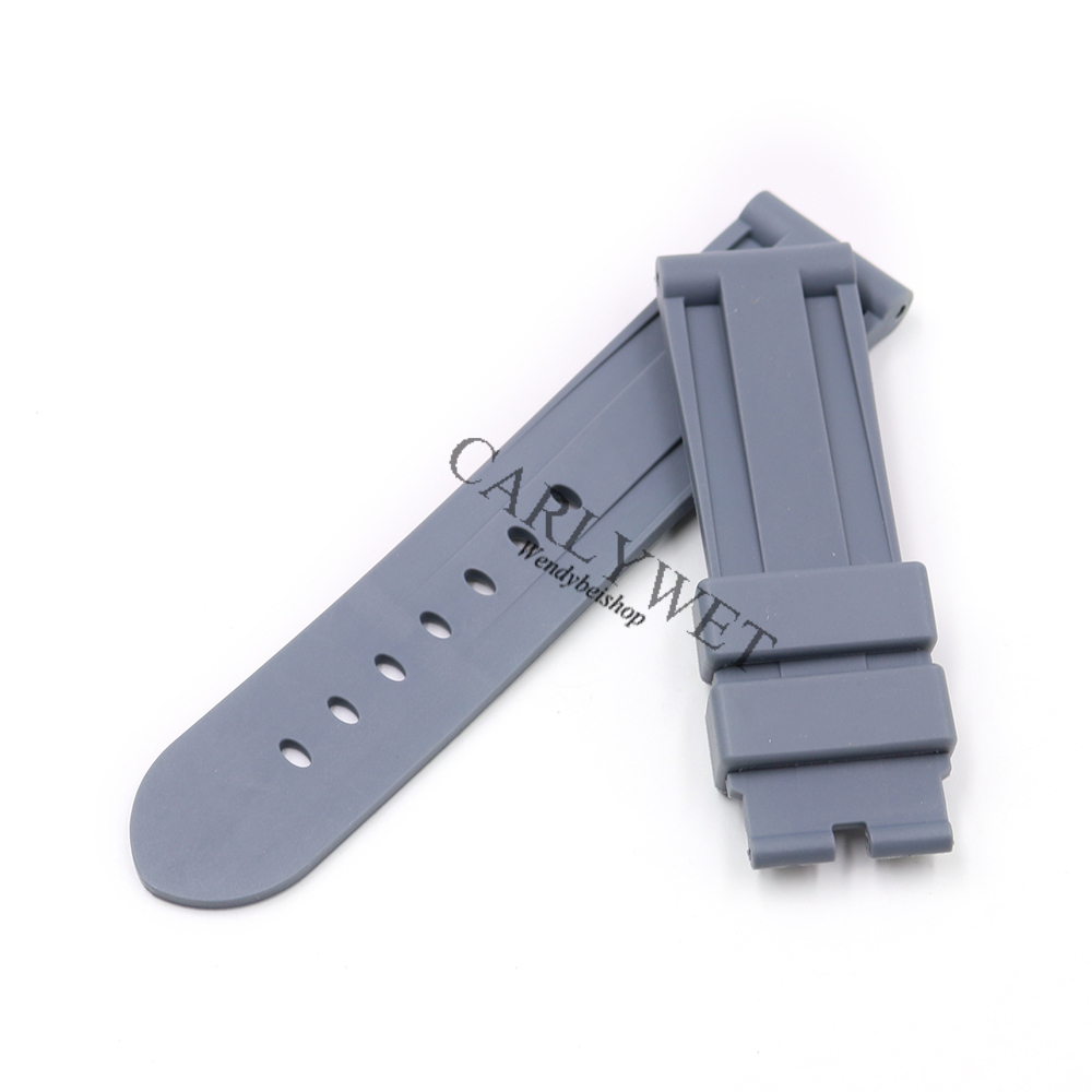 CARLYWET 24mm Grey Waterproof Silicone Rubber Replacement Wrist Watch Band Strap Belt Silver Black Buckle For Luminor in Watchbands from Watches
