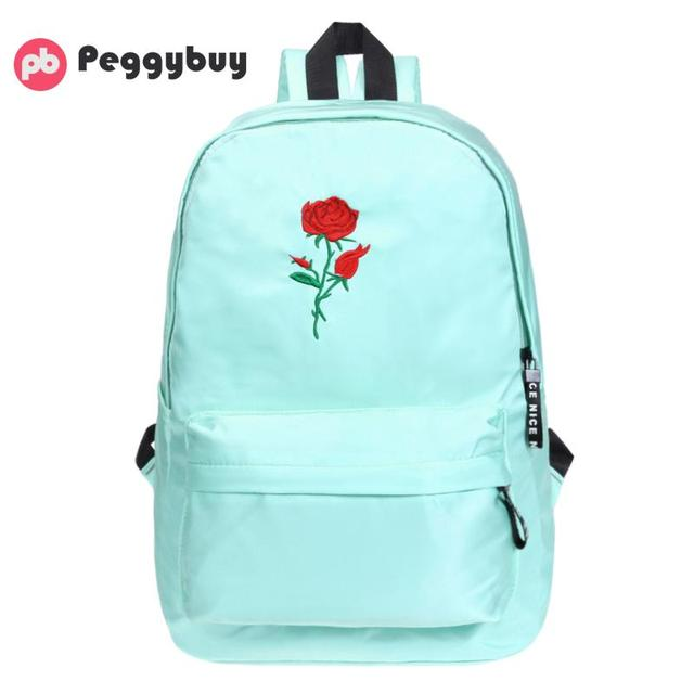 55a629176de6 Korean Fashion Simple Women Canvas Backpack Cute Concise Rose Embroidered  Backpacks for Girls Travel Rucksack School Bags