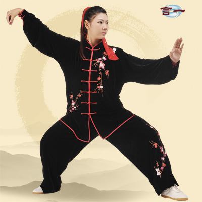 A winter plum Pink Velvet embroidered clothes and tai chi clothing costumes a velvet made l