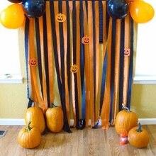 10pcs/set Vintage Halloween Decorations Black & Orange Crepe Paper Streamer For Party Backdrop