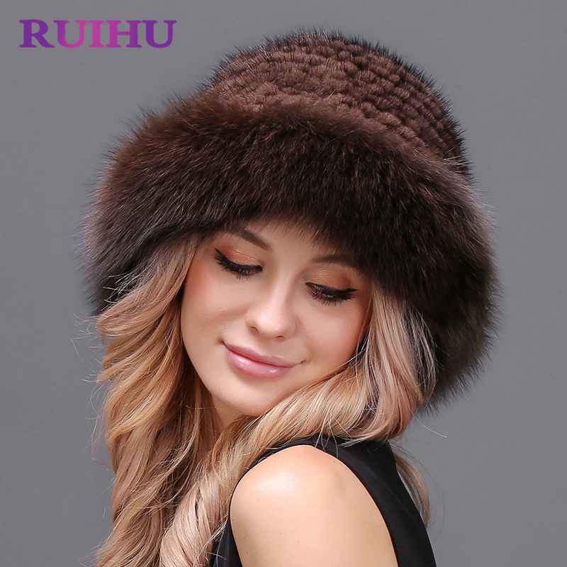 RUIHU Women Fox Hat Mink Fur Thick Cap Female Winter For Lady Lovely Casual Hats Genuine Real Fur Touca Inverno Gorros RHM649 hm015 real genuine mink fur hat winter hats for women whole piece mink fur hats