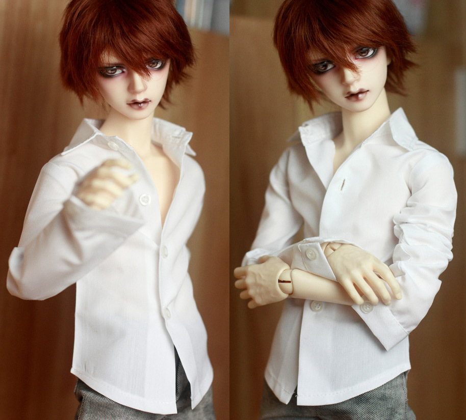 BJD Doll White Shirt Outfits Top Clothing For Male 1/4 1/3 SD17 70cm 17